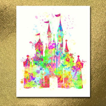 Digital Poster, Disney Castle Print Watercolor, Baby Room Nursery, Illustration, Watercolour, Kids Print, Kid Nursery, Home Decor