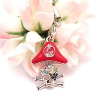 Red Pirate Skull Bones Cell Phone Charm Strap Rhine Stone