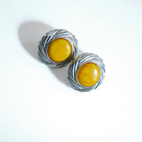 Big Yellow Round Clips On Earrings, Vintage Jewelry, 80s Earrings