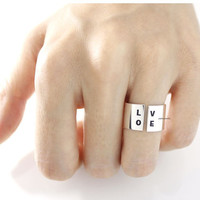 "925 sterling silver Stacking Wide and Thick ""Love"" engrave Ring Band, Open ring, R0682G"