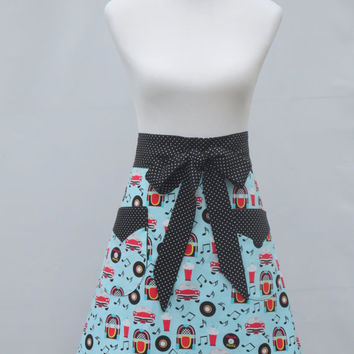 Womens Half Apron, Rock N Roll 50s Theme, Blue Black Red, Polka Dots, Lined, 100% Cotton, Hostess, Costume, Birthday Shower Holiday Gift
