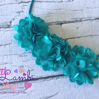 Teal Blue Couture Baby Headband, Satin Mesh  Baby Hair Band, Flower newborn head band, Newborn photography props, Canada