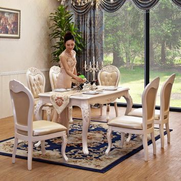 European-Style Solid Wood Marble Dinning Table Set