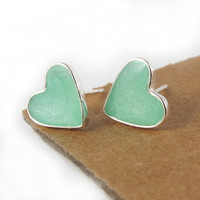 Heart stud Earrings  Light green mint Small by SigalitAlcalai