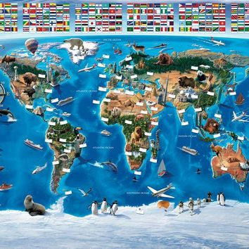 Brewster Wallpaper WT41851 Map Of The World Wall Mural