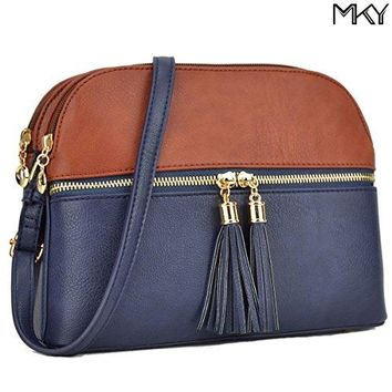 Women Lightweight Crossbody Shoulder Bag Medium Compartment Purse with Tassel