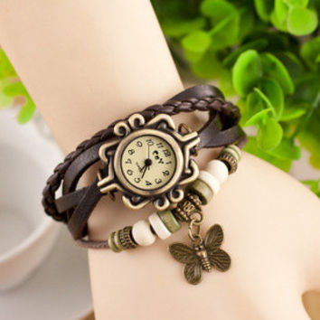 Hippie Leather Fashion Bracelet Watch With Butterfly Charm & Beads