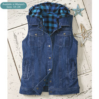 Buffalo Plaid Lined Denim Vest - Western Wear, Equestrian Inspired Clothing, Jewelry, Home Décor, Gifts