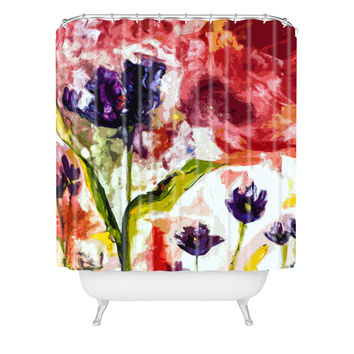Ginette Fine Art Black Tulips Shower Curtain