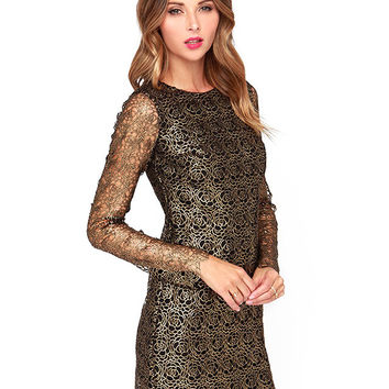 Gold Floral Lace Long Sleeve Mini Dress