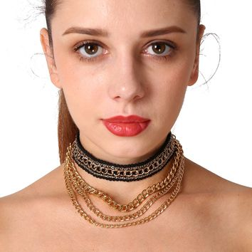 171201 The Fashion Section of The Multilayer Metal Short Necklace C1627