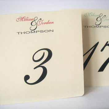 Wedding table numbers, table numbers, wedding decor, personalized table numbers -  set of 10