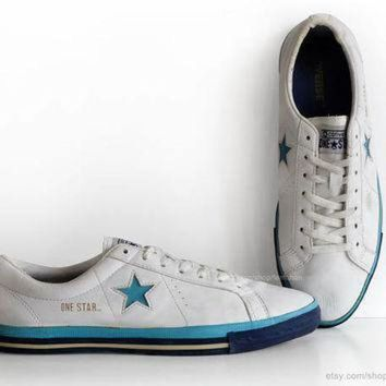ICIKGQ8 white leather converse one star sneakers vintage trainers low tops casual shoes wh