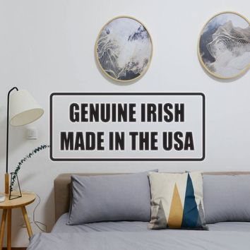 Genuiine Irish Made in the USA Vinyl Wall Decal - Removable