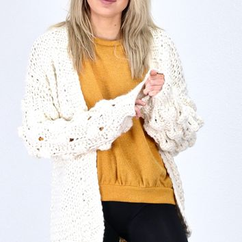 Pom Pom Bubble Sleeve Chunky Knit Cardigan {Cream}