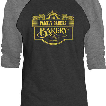 Big Texas Family Bakery Sign (Yellow) 3/4-Sleeve Raglan Baseball T-Shirt