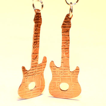 Copper Guitar Earrings Rocking out the Dangle with a Musical Design