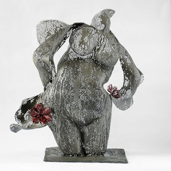 Abstract sculpture - Nude woman - Wire mesh - metal art - home decor - Torso