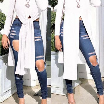 Beige Irregular Front Slit High-Low Long Sleeve Round Neck Casual Blouse