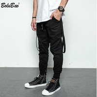 Side Pockets Harem Pants Men Hip Hop Patchwork Cargo Ripped Sweatpants Joggers Trousers Male Fashion Full Length Pants