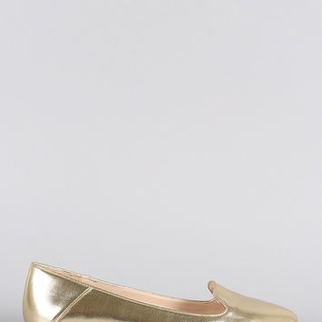 Bamboo Metallic Pointy Toe Slip On Loafer Flat