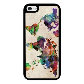 World Map Urban Watercolor iPhone 5/5S/SE Case