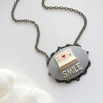 Vintage Inspired Cute Polaroid Camera SMILE Grey Cameo Necklace. Nostalgic Feel. Red Heart. Antiqued Bronze Setting with chain Necklace