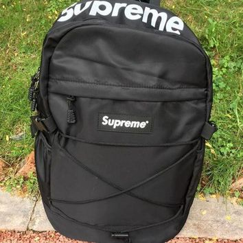 Supreme Canvas Backpack College High School Bag Travel Bag Black