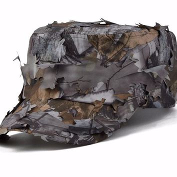 Men's Tactical 3D real tree hunting Cap Woodland Leaf Sneaky Camouflage Hat Caps autumn leaves camo flat hat Sniper Archery cap