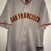 Sale!! Vintage majestic sf San Francisco Giants MLB jersey baseball shirt size Large made in USA free US shipping