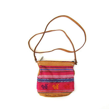 Vintage Tribal Purse. TINY crossbody Ikat Shoulder Bag. Woven Boho Southwestern wallet purse. Leather & Cotton Bag. Ethnic Print Purse.