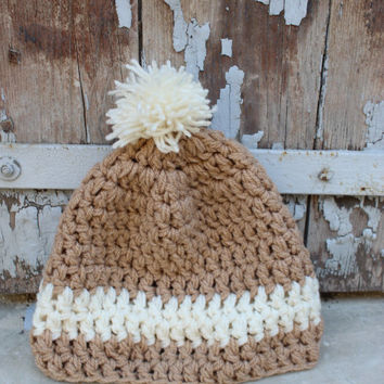 Pompom Beanie Hand Knit , Cable Knit Womens Winter Hat with Pom Pom, Unisex Ski Hat, Mens Wool Hat, Customize the colour Colours
