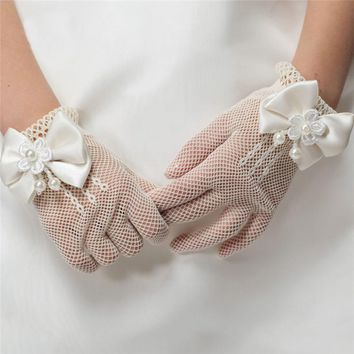 1Pair Girls Kids White Lace Faux Pearl Fishnet Gloves Communion Flower Girl Bride Party Ceremony  Accessories005