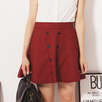 YESSTYLE: ZOO- Houndstooth Double-Buttoned Skirt (Red - One Size) - Free International Shipping on orders over $150