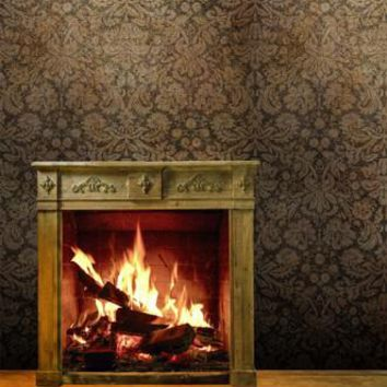 Rustic Wood Burning Fireplace Vintage Backdrop - 4658