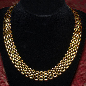 Vintage Necklace Egyptian-Style Collar Choker Panther Link 1960s Golden