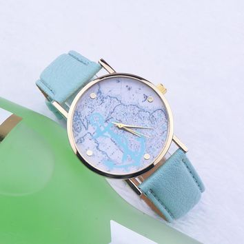Fashion Women Men Anchor Leather Strap Watch Classic Lover World Map Watches + Gift Box