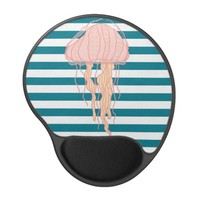 Blue White Bold Stripes Jellyfish Mouse Pad Gel Mouse Pad