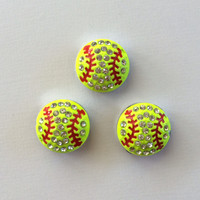 1 Rhinestone Softball Slide Charm 8mm