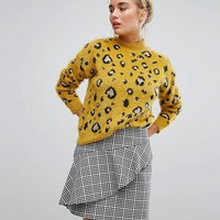 Willow And Paige Oversized High Neck Sweater In Fluffy Leopard at asos.com