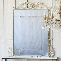 Eloquence One of a Kind Vintage Mirror Iron Faded Cream
