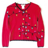 Shop Now! Ugly Sweaters: Christmas Lights Tacky Ugly Sweater Women's Size Medium (M) $20 - The Ugly Sweater Shop