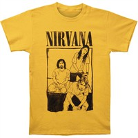 Nirvana Men's  Cartoon Sitting Photo Mens Reg T T-shirt Gold
