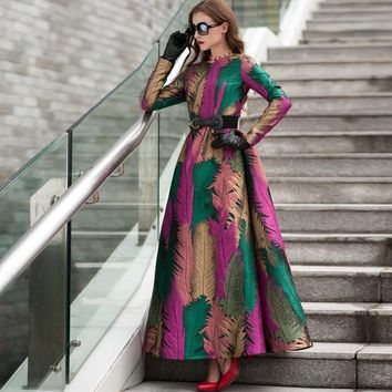 Green Fall Leave Patern Boho Long Sleeves Fashion Dress  Floral Jacquard Winter Formal Maxi  Dress