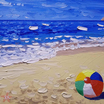Palette Knife Beach Painting on Canvas by Ryan Kimba, Small Original Oil Painting, Seascape Art, Wall Decor, Impressionism, Beach Ball