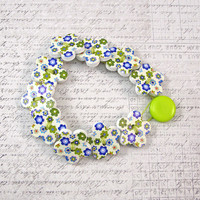 Blue and Green Flower Wooden Button Bracelet, Non Metal Jewelry