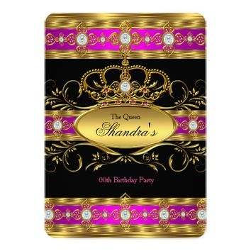 """Queen Princess Royal Pink Gold Diamond Crown Party 5"""" X 7"""" Invitation Card"""