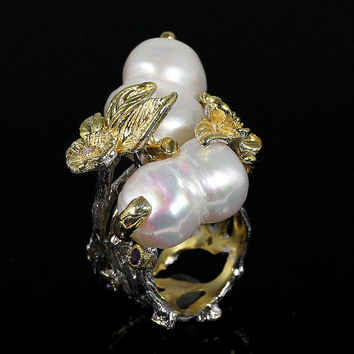Handmade natural south sea baroque pearl 925 sterling silver ring