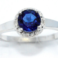 1 Carat Blue Sapphire Diamond Ring .925 Sterling Silver Rhodium Finish White Gold Quality