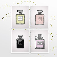 Fashion poster Original Chanel illustrations Giclee print set Dior drawing Gift for girlfriend Girls Bedroom decor French perfume bottles